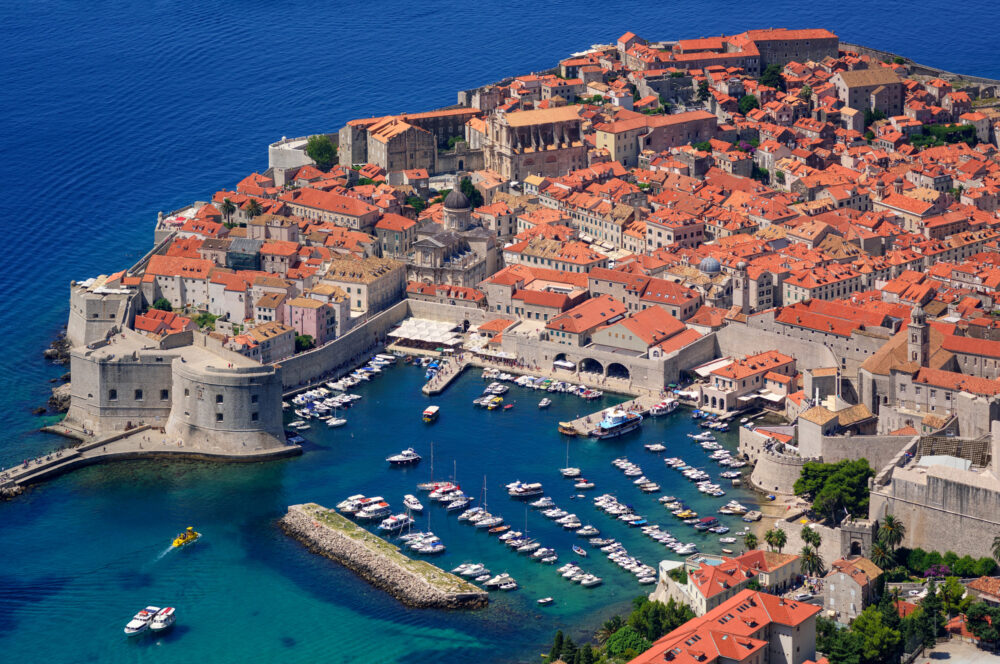 The historical old town of Dubrovnik, Croatia, on a peninsula in Adriatic Sea is on UNESCO World Culture Heritage List.
