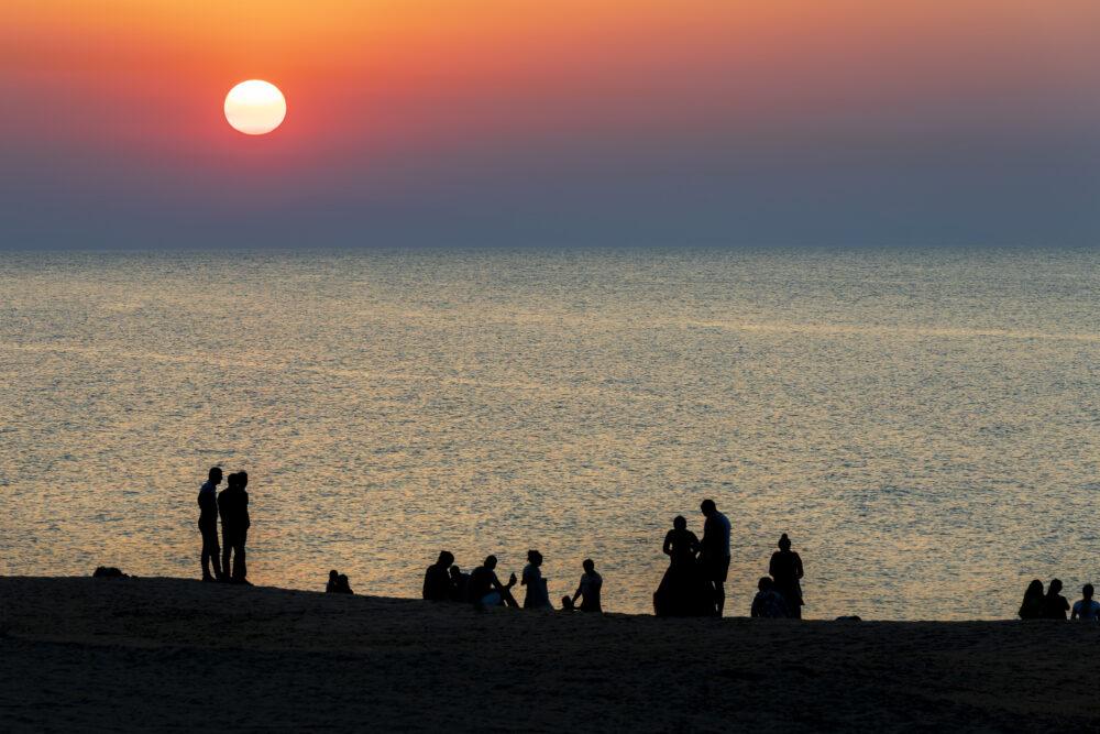 Sunset on the beach in Baku カスピ海