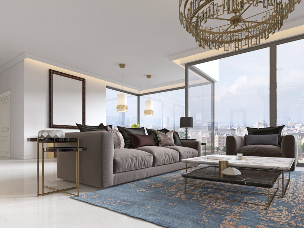 Modern luxury living room interior with a sofa, armchairs, a coffee table and a dining table with a kitchen. 3D rendering.