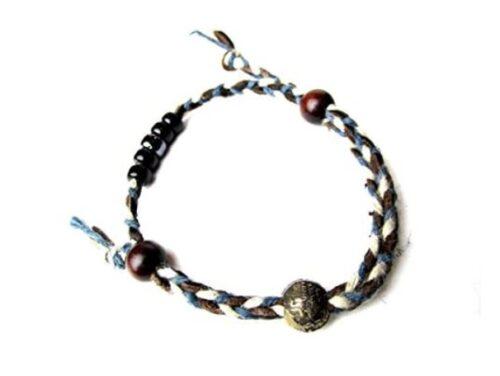 VIVIFY ビビファイ アンクレット 編み込み ブレスレットNatural Braiding Anklet Bracelet 受注生産 (ブルー)