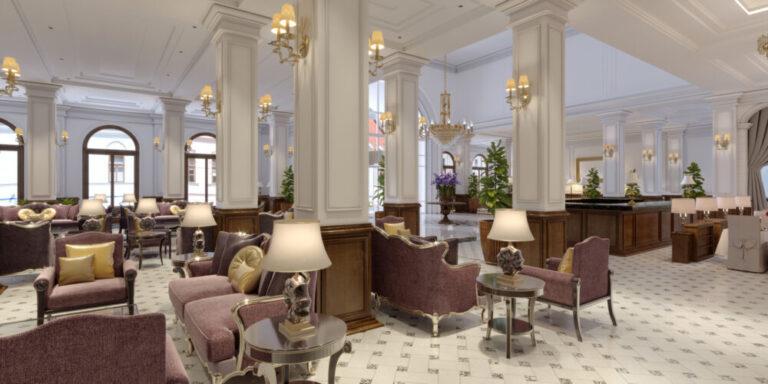 Classic styled hotel lobby interior.