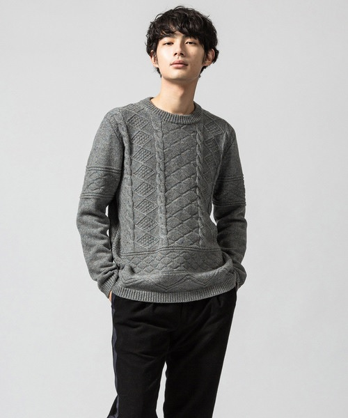 Paul Smith CREW NECK CABLE SWEATER 283413 584RJ