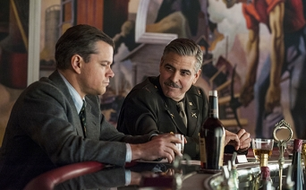 Matt Damon (left) and George Clooney in Columbia Pictures' THE MONUMENTS MEN.