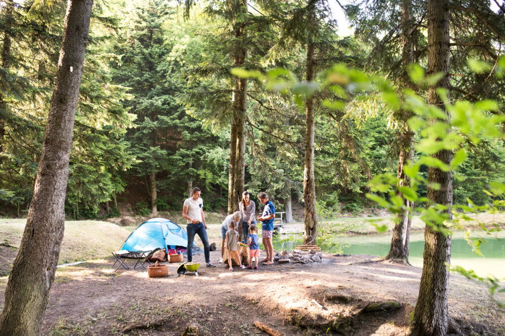 Beautiful family enjoying camping holiday in forest. Barbecue with drinks and food.
