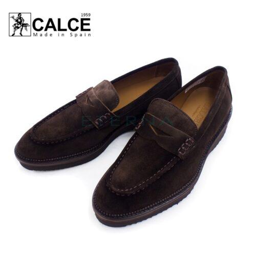 CALCE カルセ メンズシューズ インポート スエード スペイン コインローファー 仕事 カジュアル 革靴 ダークブラウン 708